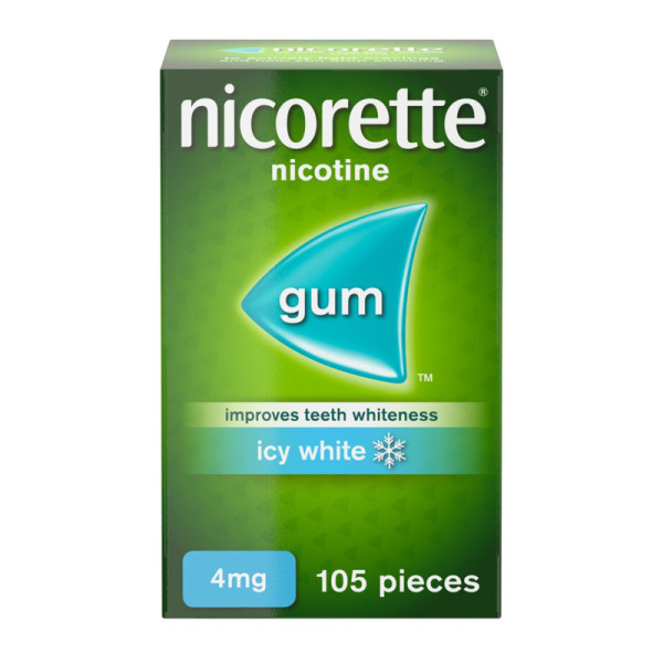 Nicorette Icy White Chewing Whitening Gum 4mg 105 Pieces