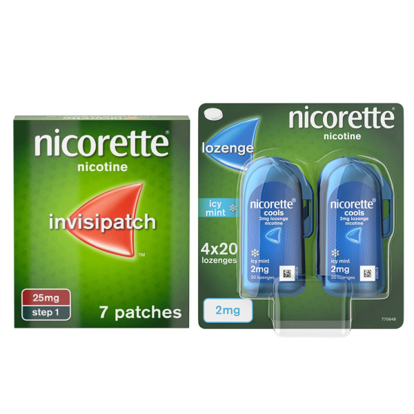 Nicorette Invisi 25mg Patch 7 & QuickMist Cool Berry Mouthspray Starter Bundle