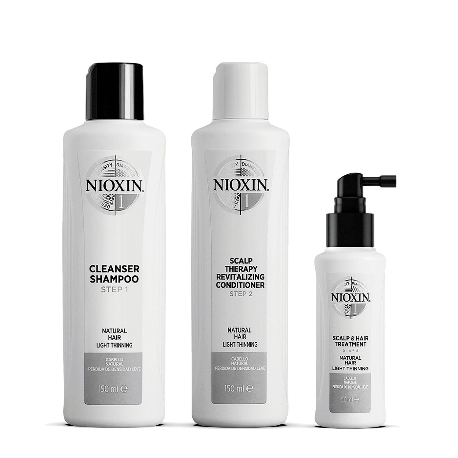 Nioxin 3 Part System 1 Trial Kit for Natural Hair with Light Thinning