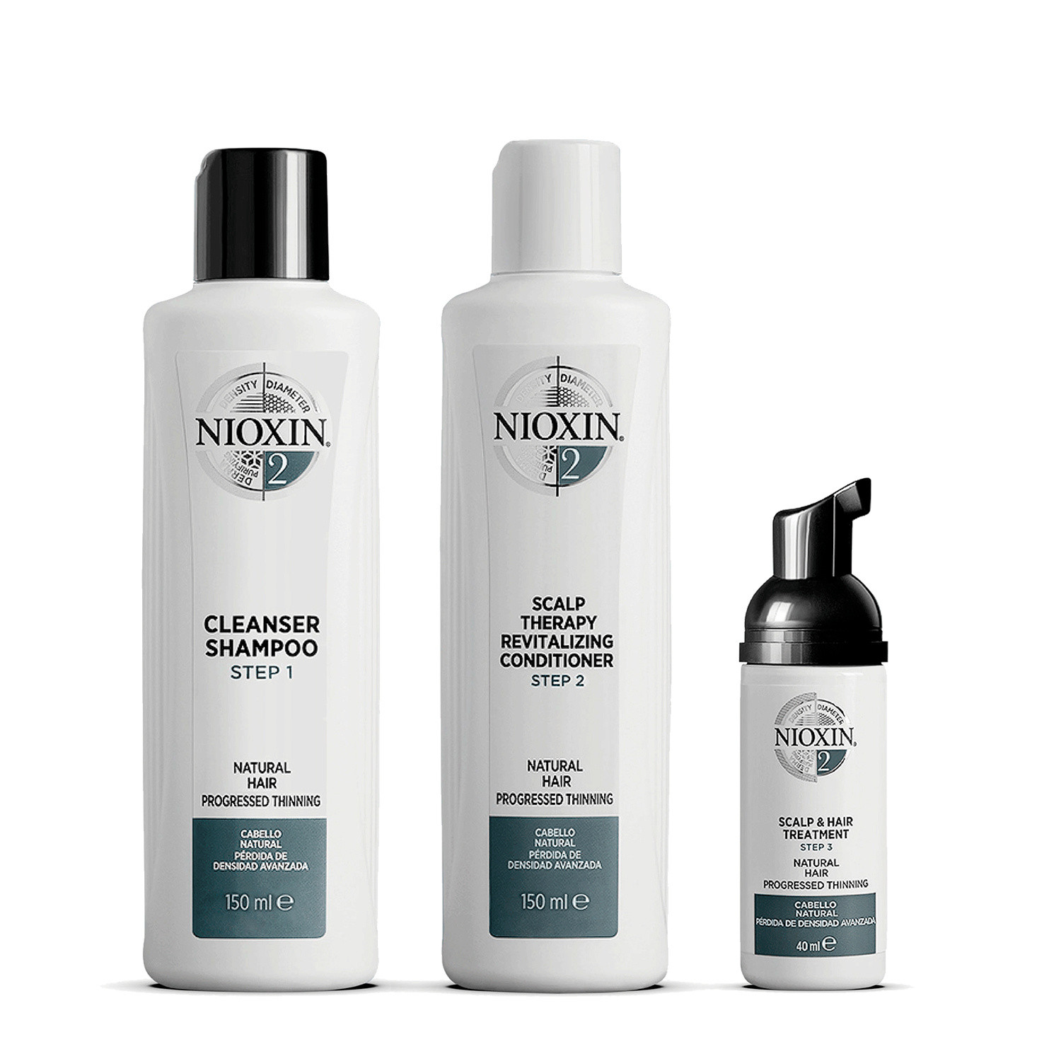 Nioxin 3 Part System 2 Trial Kit for Natural Hair with Progressed Thinning