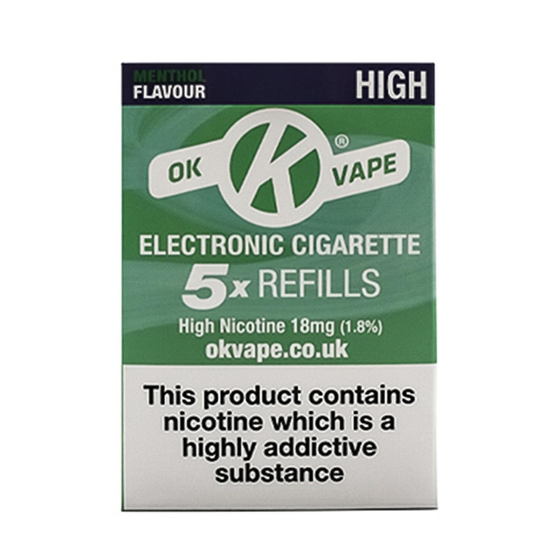 OK Vape High Strength Menthol Refills (18mg)