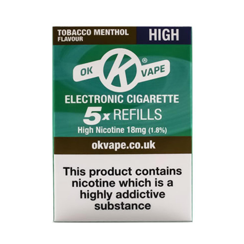 OK Vape High Strength Tobacco Menthol Refills (18mg)