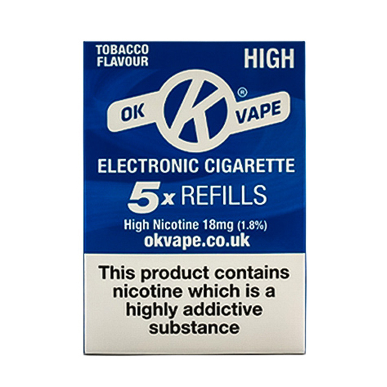 OK Vape High Strength Tobacco Refills (18mg)