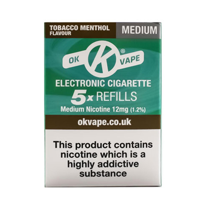 OK Vape Medium Strength Tobacco Menthol Refills (12mg)
