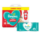 Pampers Baby Dry Pants Size 4 Jumbo Pack & Wipes Bundle