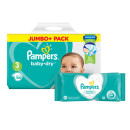 Pampers Baby Dry Size 3 Jumbo Pack & Wipes Bundle
