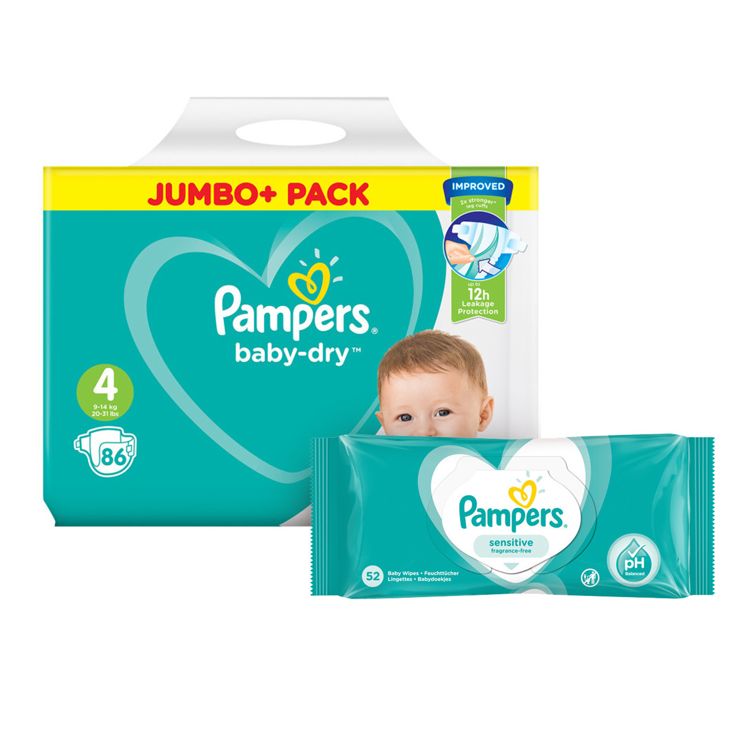 Pampers Baby Dry Size 4 Jumbo Pack & Wipes Bundle