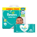 Pampers Baby Dry Size 5+ Jumbo Pack & Wipes Bundle