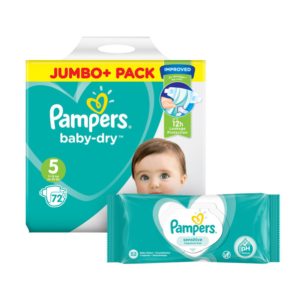 Pampers Baby Dry Size 5 Jumbo Pack & Wipes