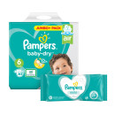Pampers Baby Dry Size 6 Jumbo Pack & Wipes Bundle
