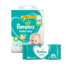 Pampers Baby Dry Size 8 Jumbo Pack & Wipes Bundle