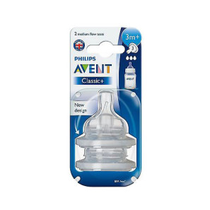 Philips Avent Classic+ 3 Month+ Medium Flow Silicone Teat Twin Pack