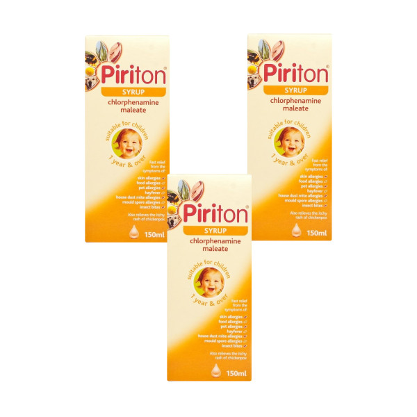 Piriton Hayfever & Allergy Relief Syrup for Children Triple Pack