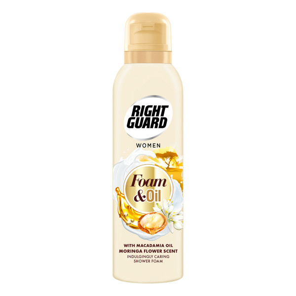 Right Guard Shower Foam & Oil with Macadamia Oil and Moringa Flower