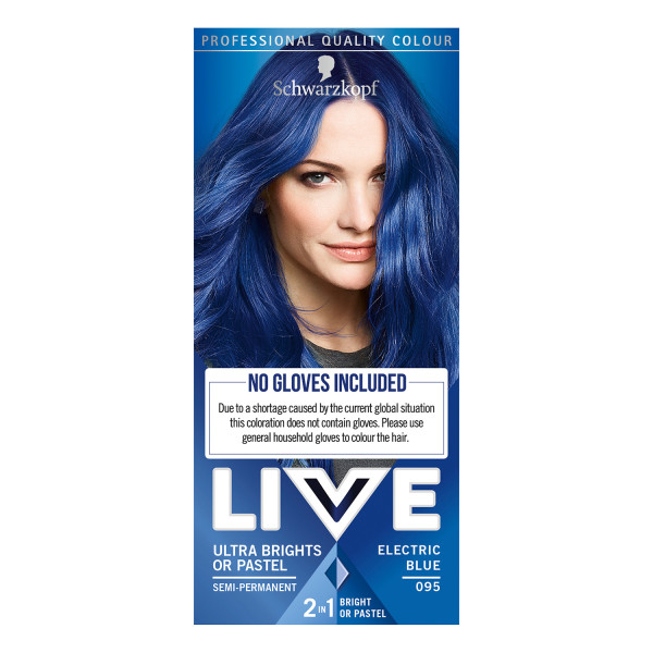 Schwarzkopf Live Ultra Brights Or Pastel 95 Electric Blue Semi Permanent Hair Dye