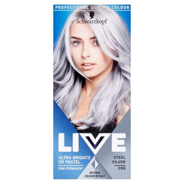 Schwarzkopf Live Ultra Brights Or Pastel 98 Steel Silver Hair Dye