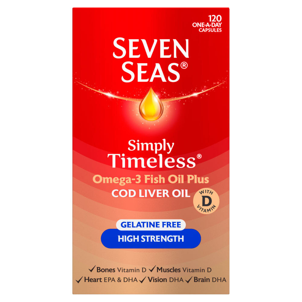 Seven Seas Cod Liver Oil High Strength Gelatine Free Capsules 120's