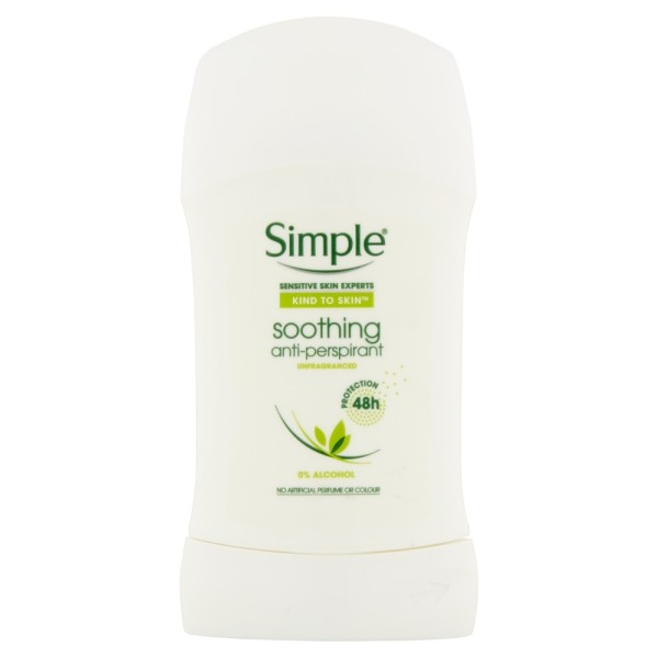 Simple Antiperspirant Stick Soothing for Sensitive Skin