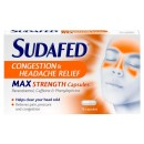 Sudafed Congestion & Headache Relief Max Strength Capsules
