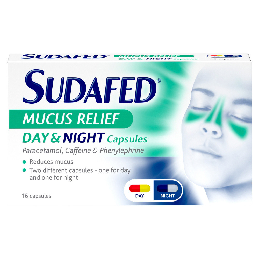 Sudafed Mucus Relief Day & Night Capsules 16s