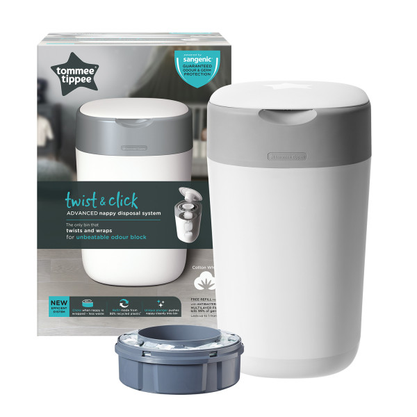 Tommee Tippee Twist & Click Nappy Bin White