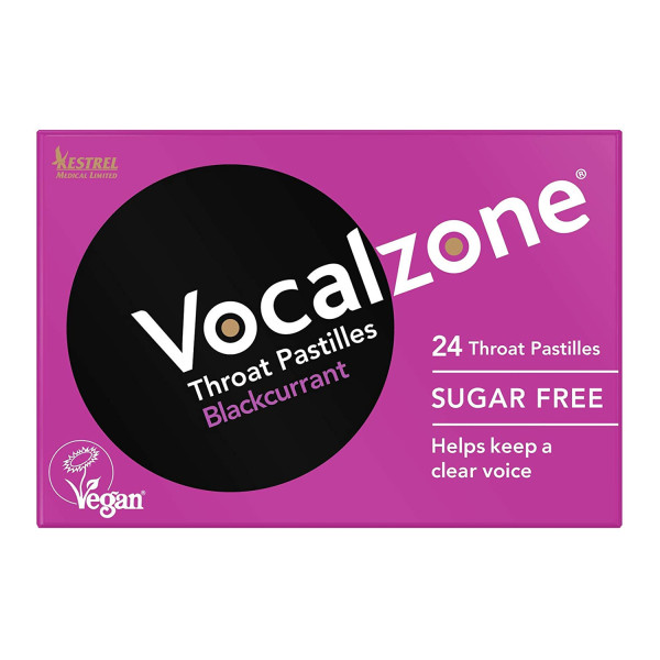 Vocalzone Blackcurrant Sugar Free Throat Pastilles