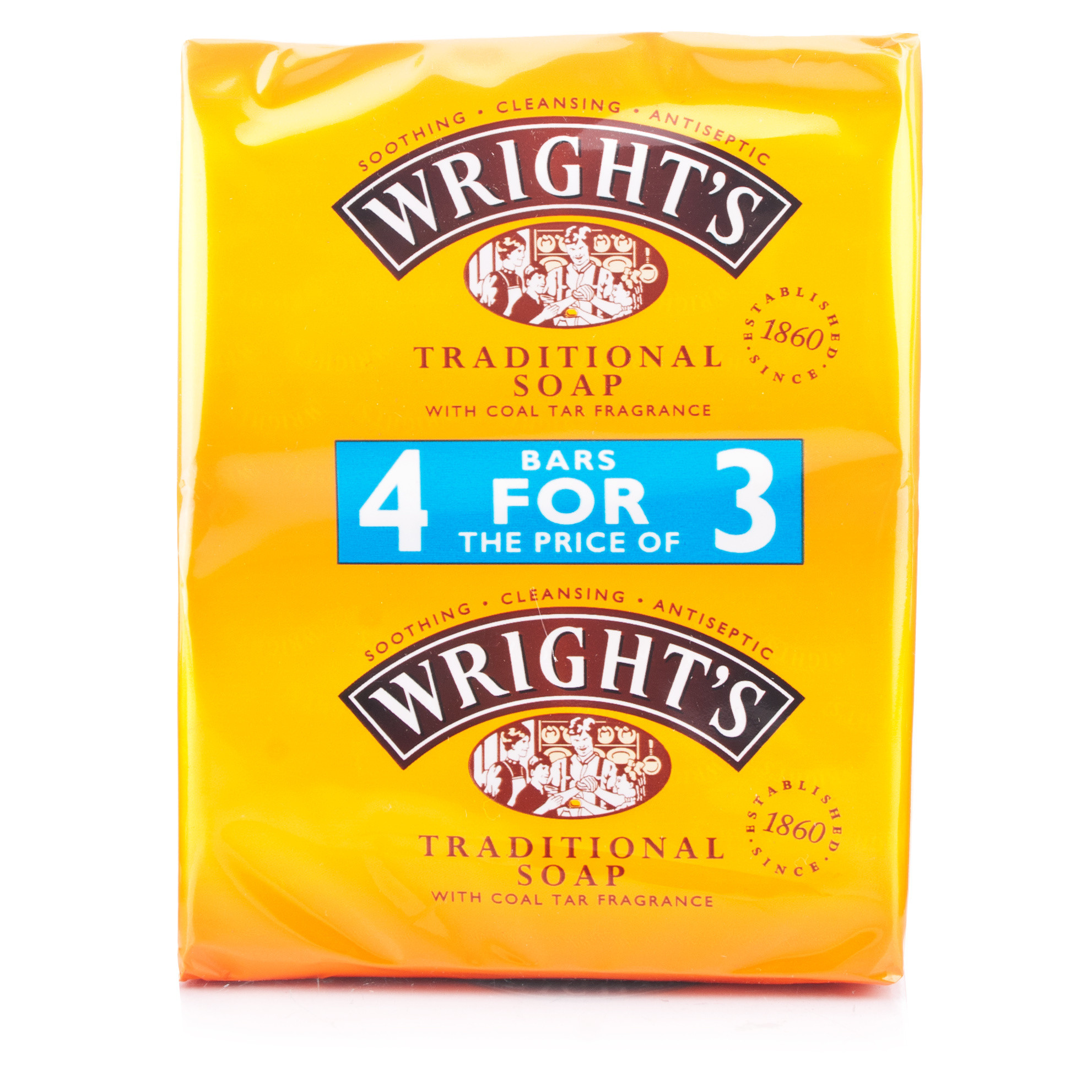 Wrights Traditional Coal Tar Soap 4 Pack