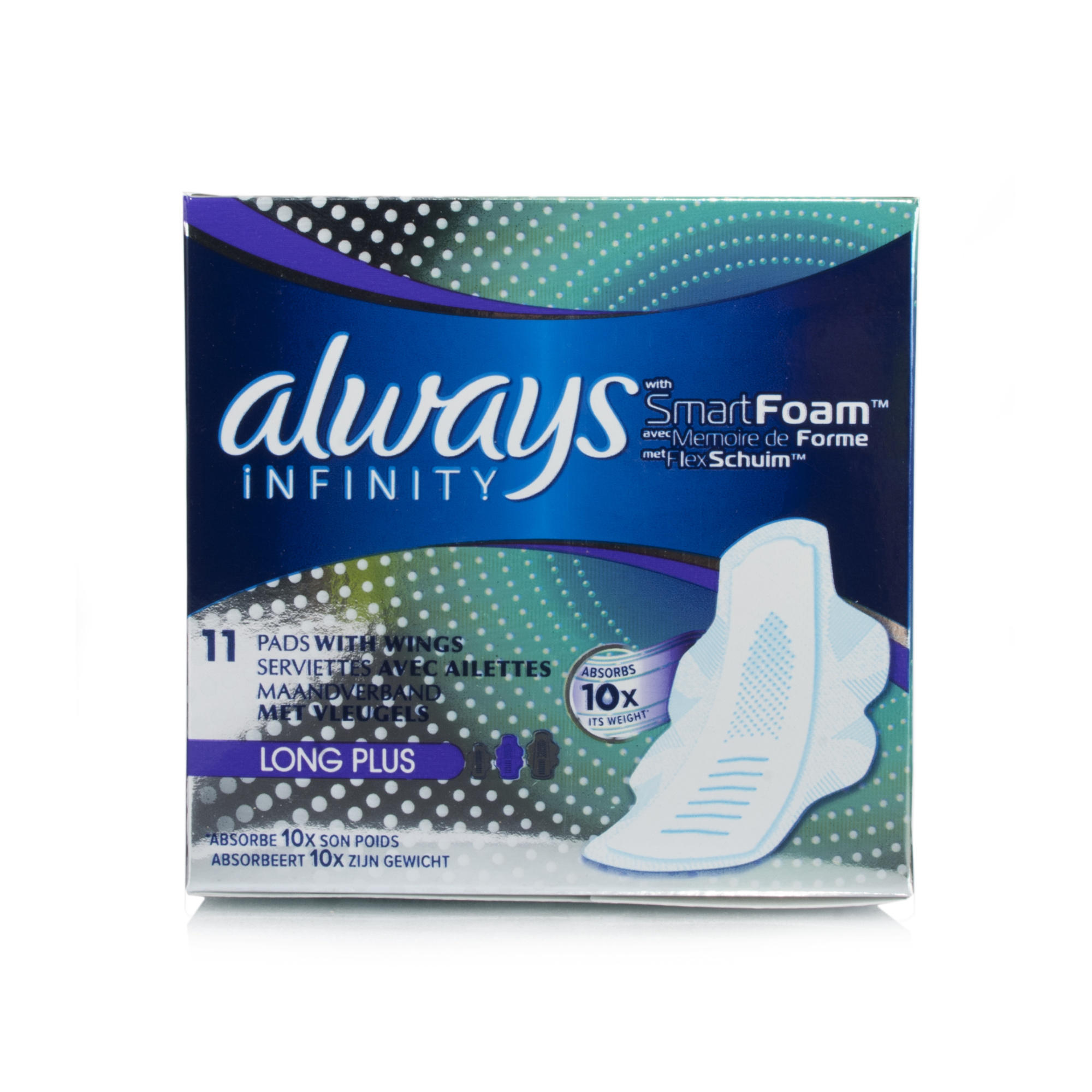 always infinity smart foam 11 pads with wings absorbs 10x its weight