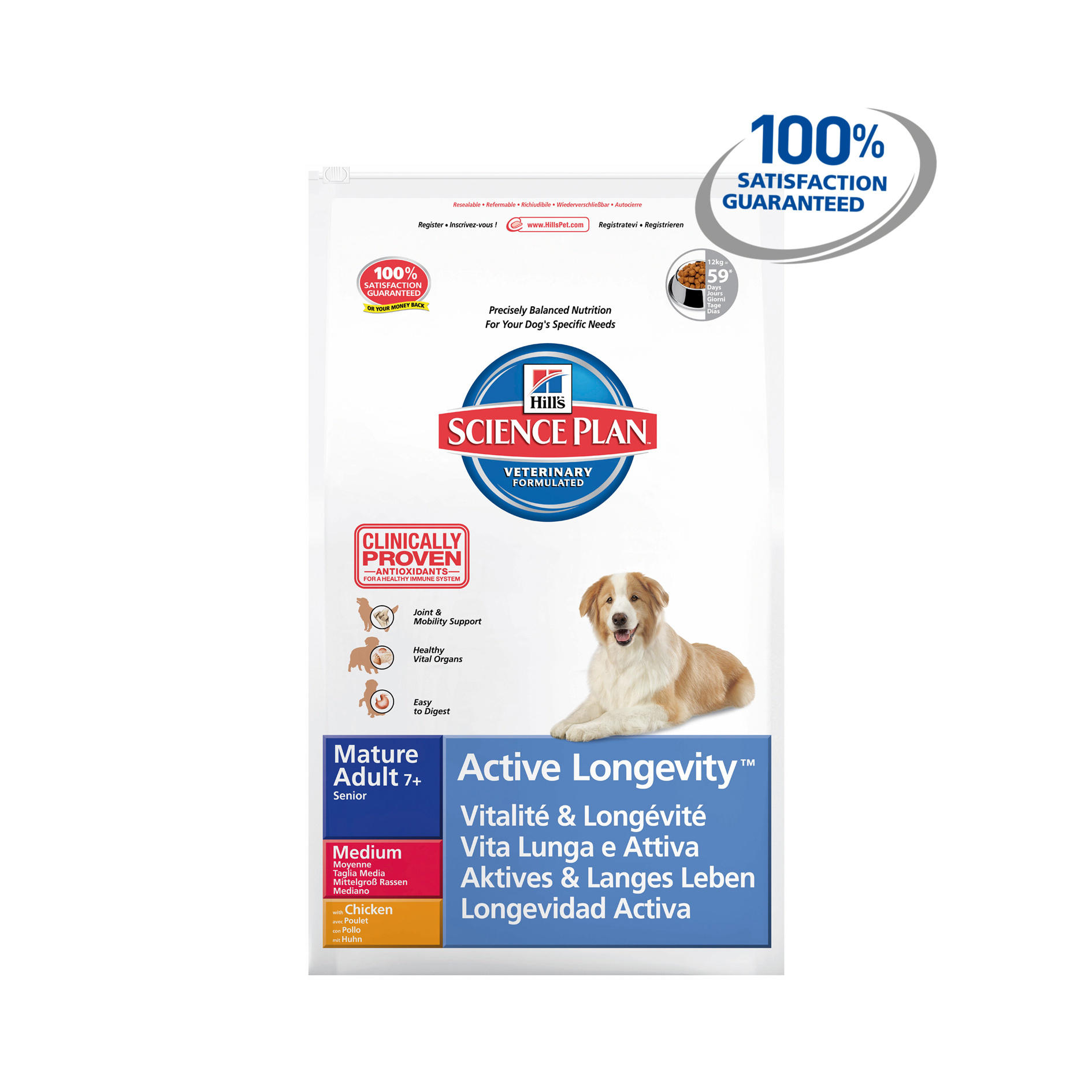 Hills Science Plan Canine Mature Adult 7 Active Longevity Medium With Chicken