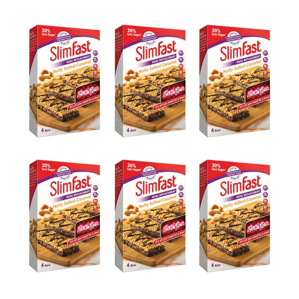 SlimFast Nutty Salted Caramel  6 Packs of 4x 60g Bars