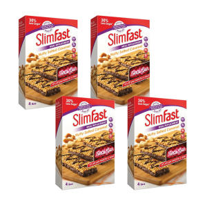 SlimFast Nutty Salted Caramel 4 Packs of 4 x 60g Bars