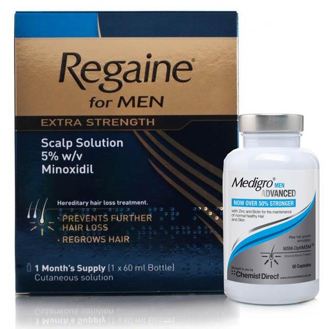 Regaine Extra Strength Solution & MediGro Advanced Hair Supplement Treatment for Men Pack