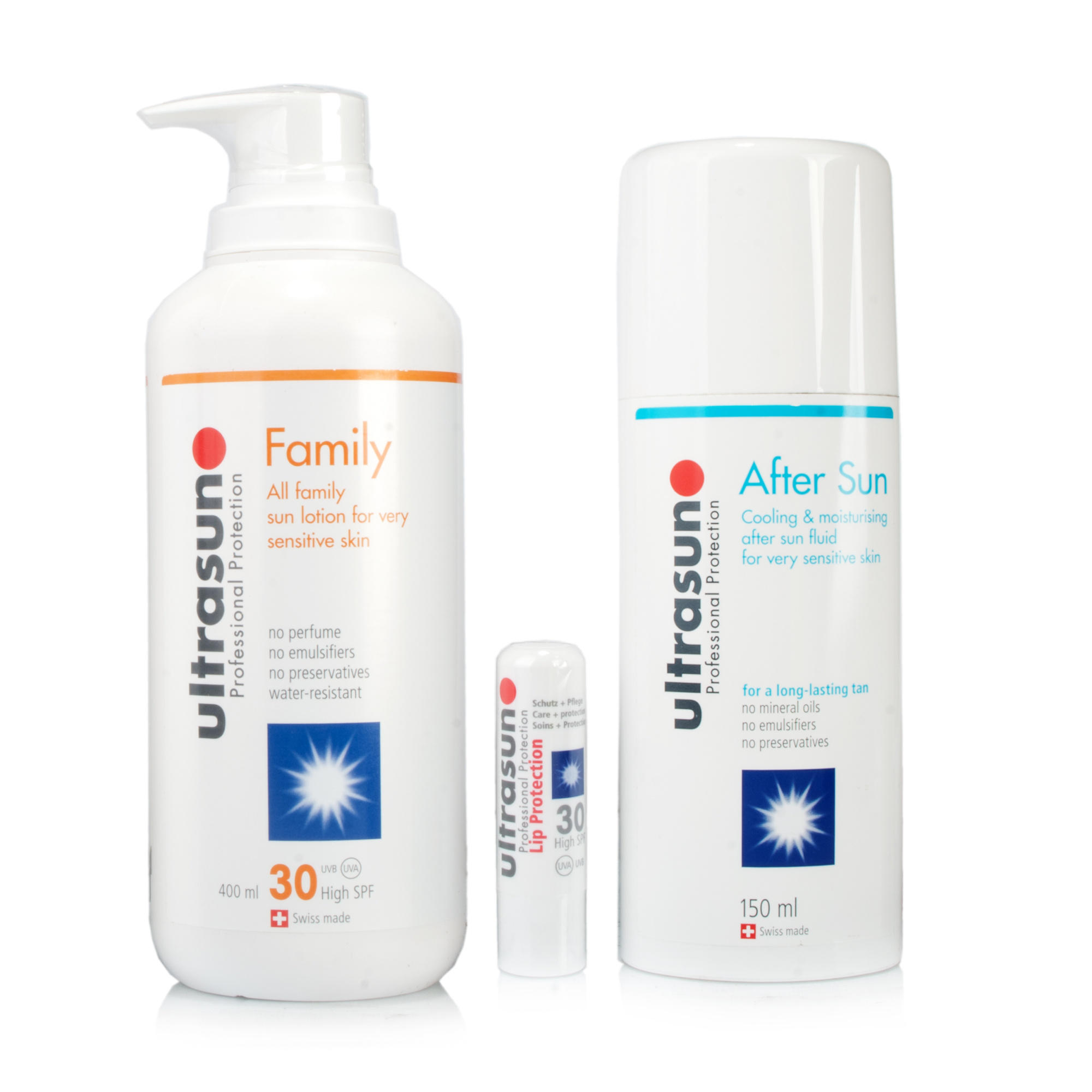 Ultrasun Family SPF30 Aftersun GelUltralip SPF30 3pc Set