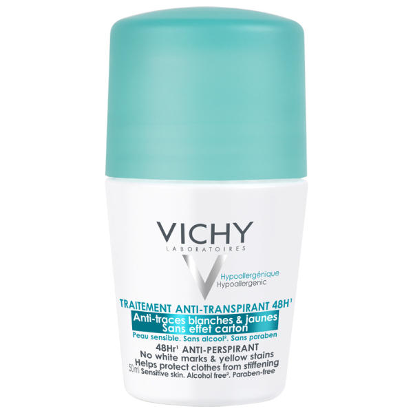 Vichy 48hr Anti-Perspirant Roll-On - No White Marks & Yellow Stains